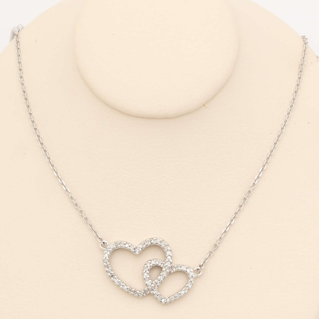 Diamond Gold Double Heart Pendant Necklace 2