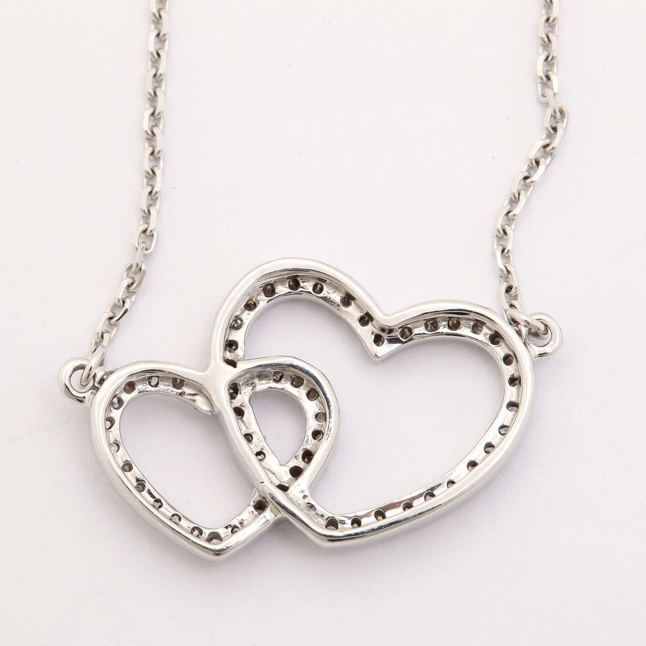 Diamond Gold Double Heart Pendant Necklace 4
