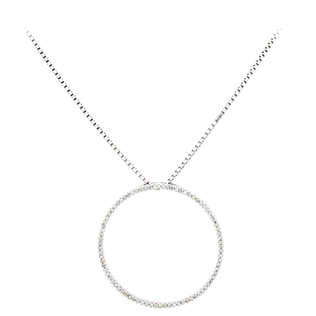 Diamond Gold Circle of Love Pendant Necklace