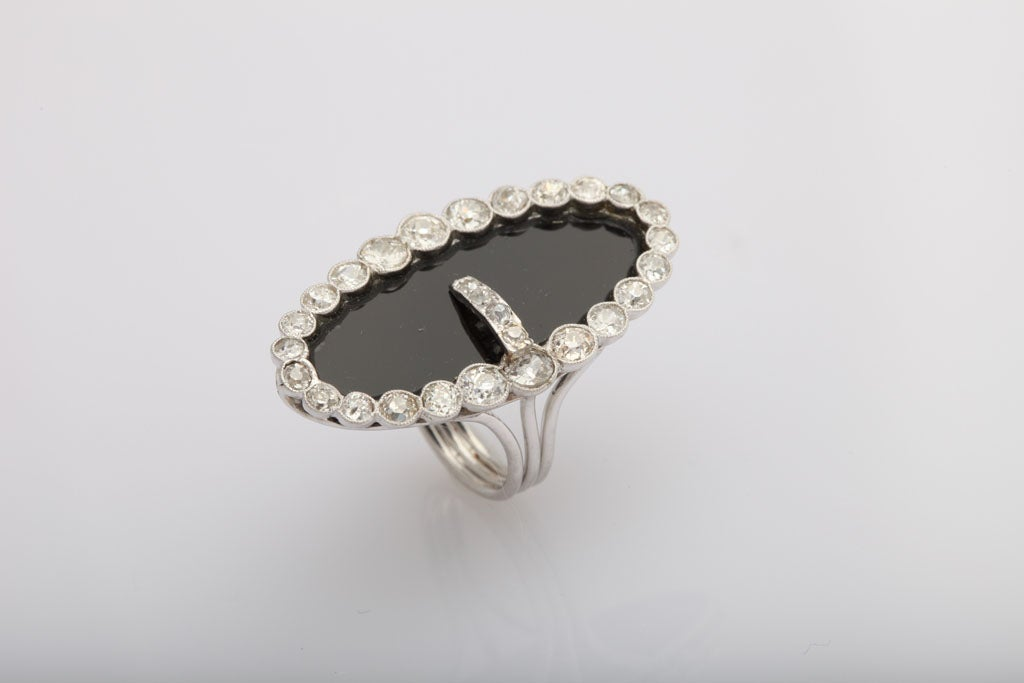 Early 20th Century Onyx and Diamond Buckle Cocktail Ring 3