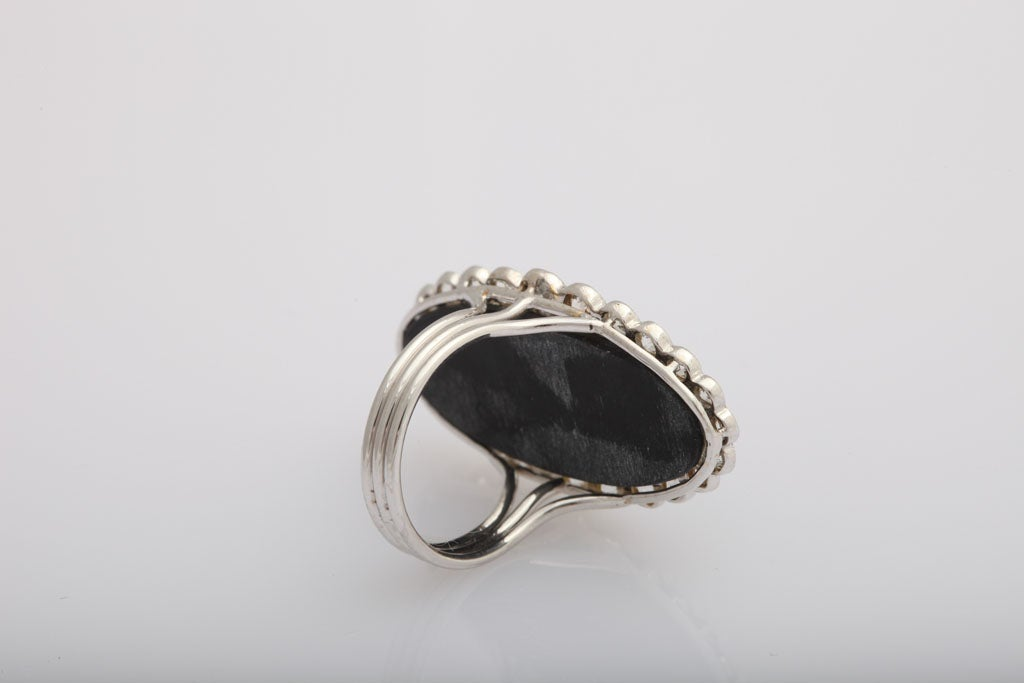 Early 20th Century Onyx and Diamond Buckle Cocktail Ring 5