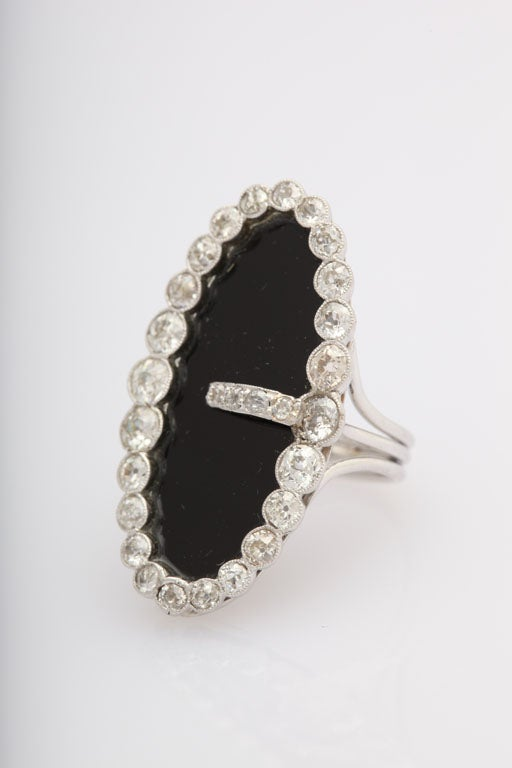 Early 20th Century Onyx and Diamond Buckle Cocktail Ring 2