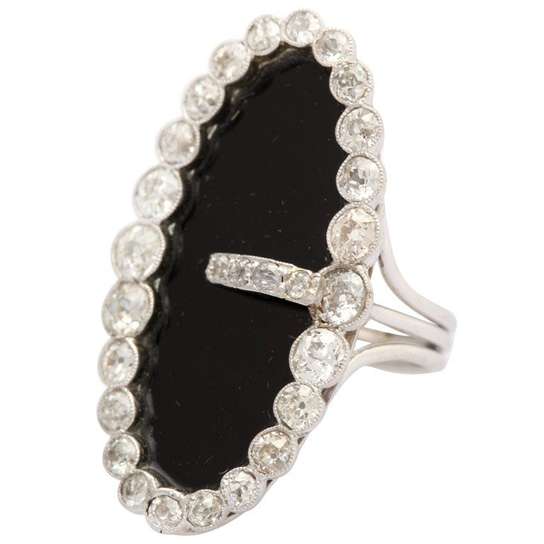Early 20th Century Onyx & Diamond Buckle Cocktail  Ring 1