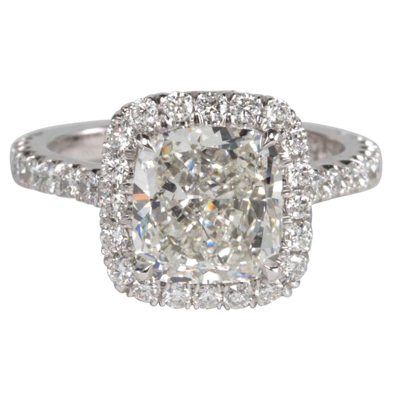 Classic GIA Certified Cushion Cut Diamond Halo Engagement Ring Set in Platinu