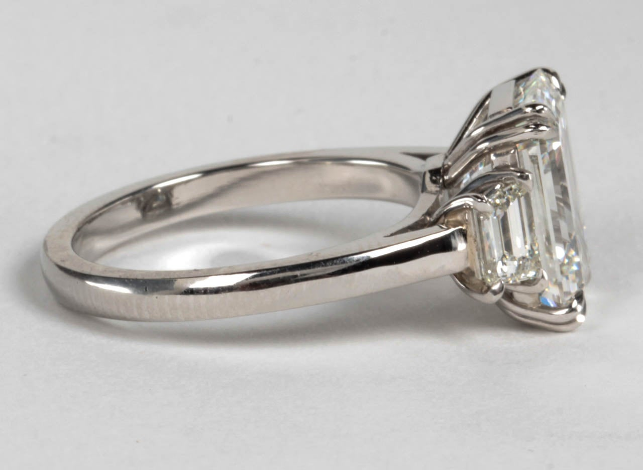 Women's GIA Certified Emerald Cut F VS1 Diamond Platinum Ring For Sale