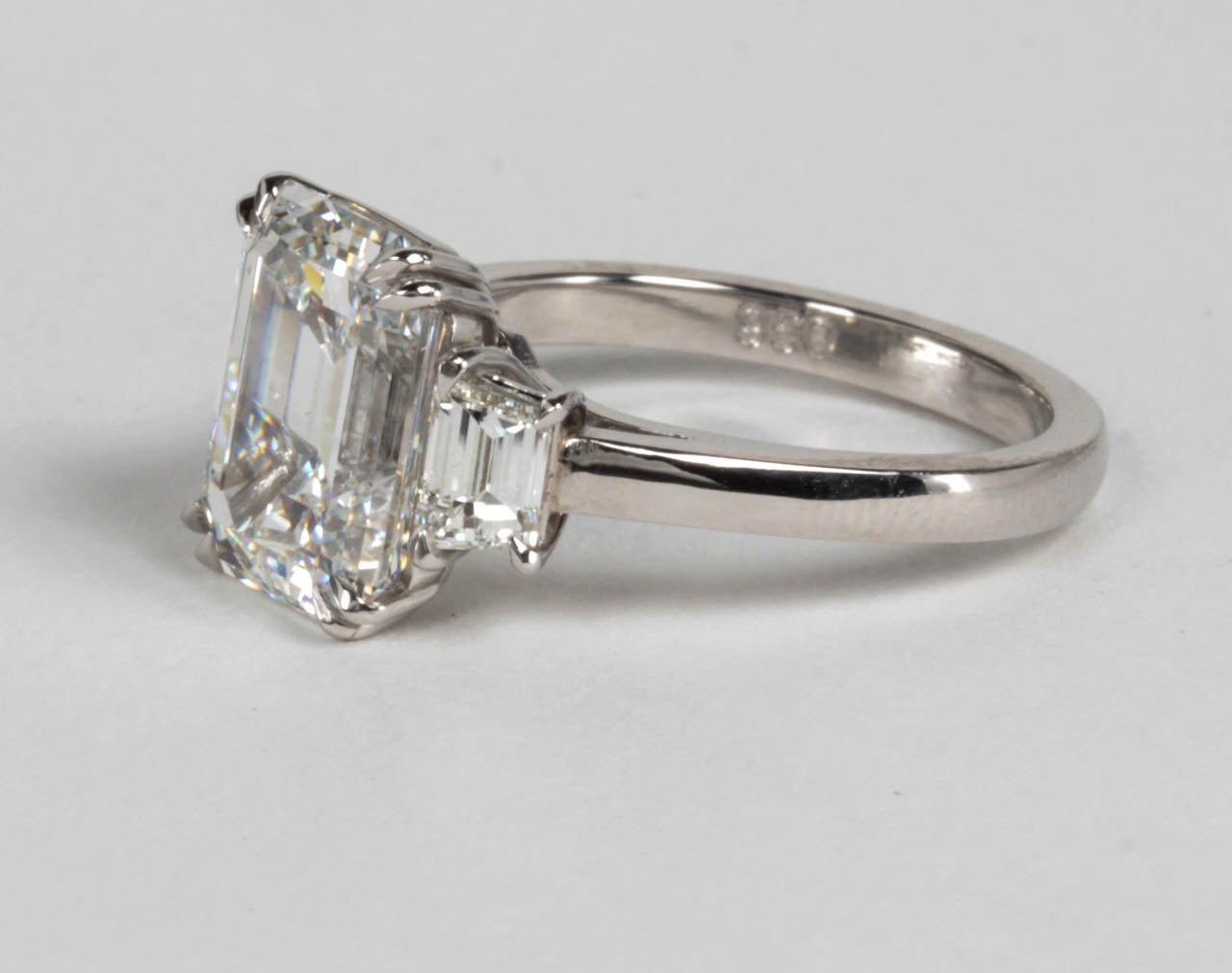 GIA Certified Emerald Cut F VS1 Diamond Platinum Ring For Sale 2