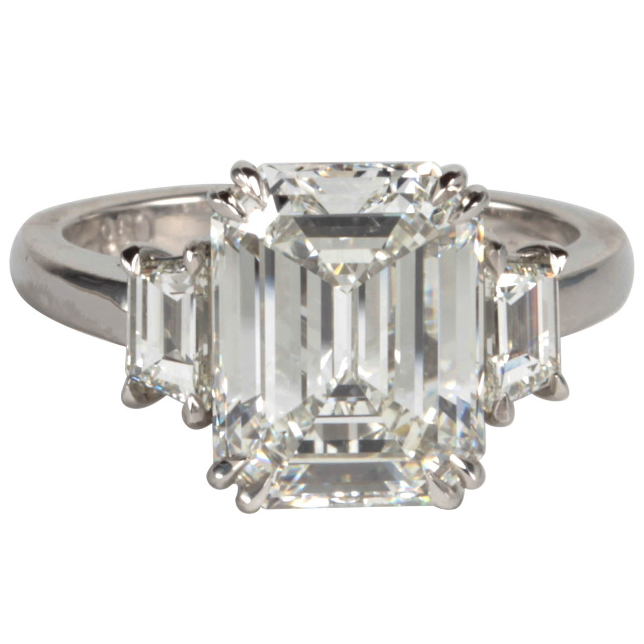 GIA Certified Emerald Cut F VS1 Diamond Platinum Ring