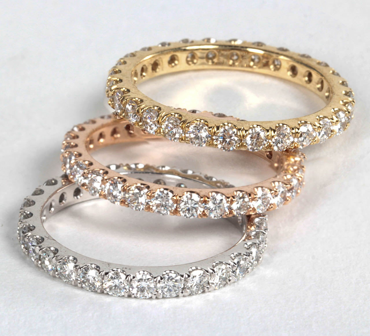 Trio of White Rose and Yellow Gold Diamond Eternity Bands For Sale ... 3659e0abd4