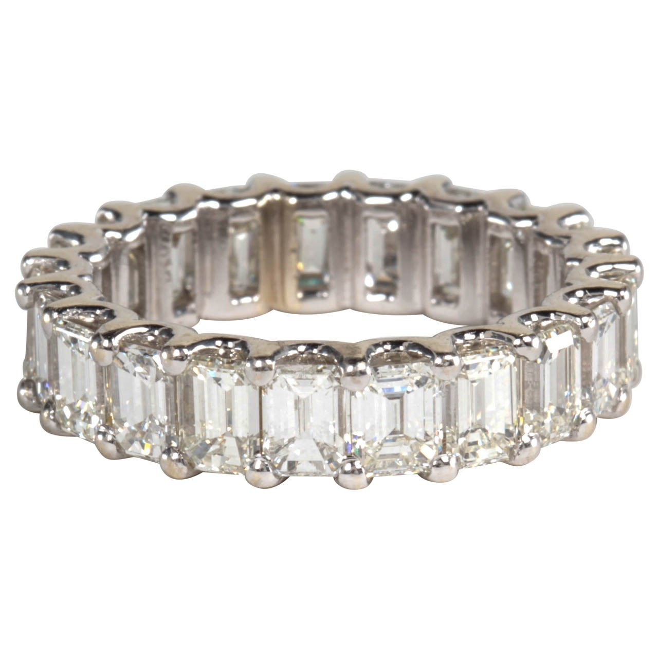emerald cut eternity band set in platinum at 1stdibs
