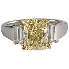 Unique GIA Fancy Light Yellow Diamond Engagement Ring