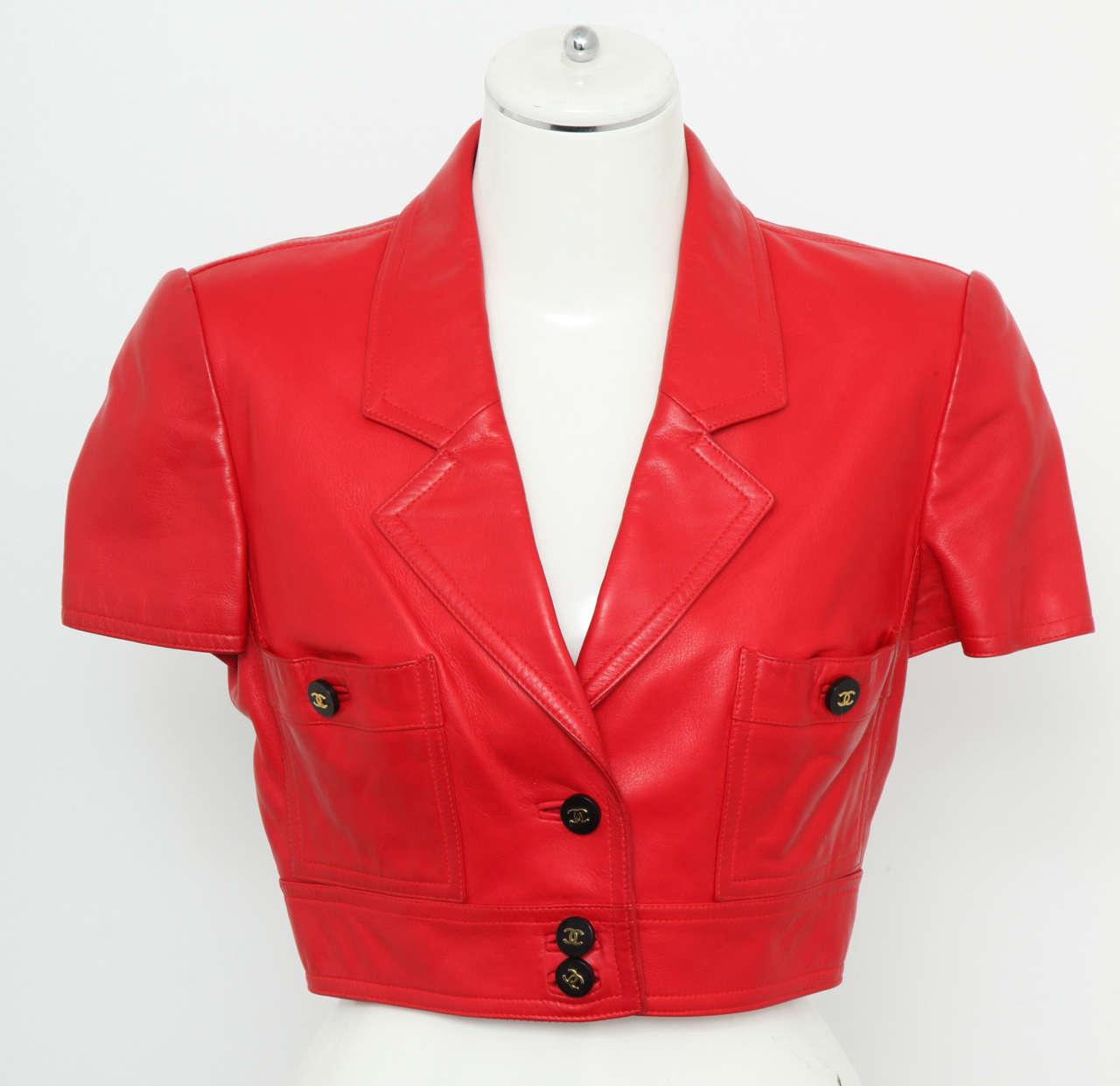 Chanel Rare Red Cropped Leather Jacket 2
