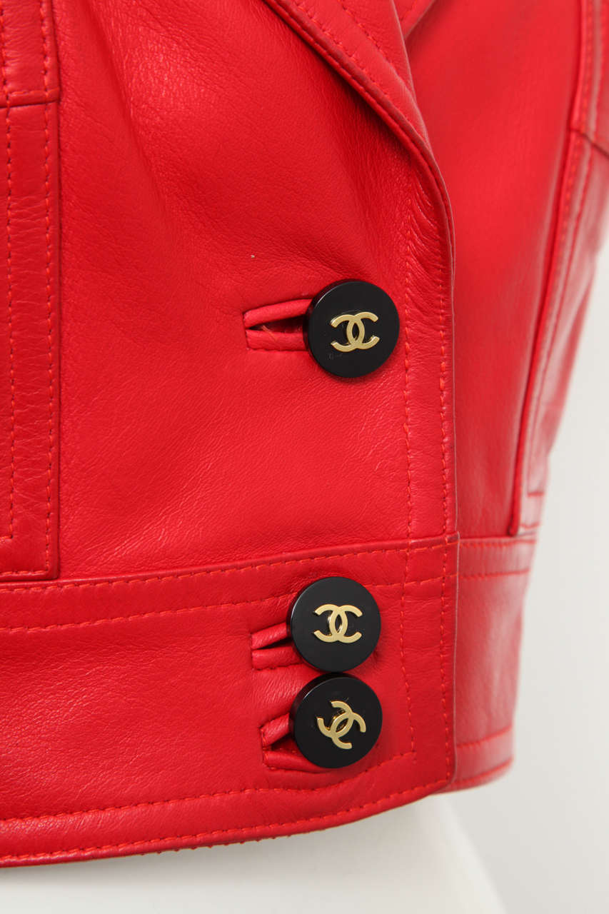 Chanel Rare Red Cropped Leather Jacket 3