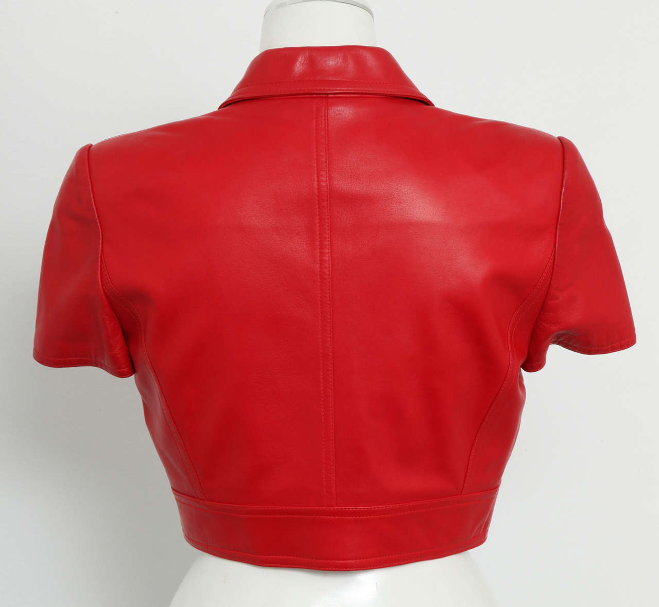 Chanel Rare Red Cropped Leather Jacket 4