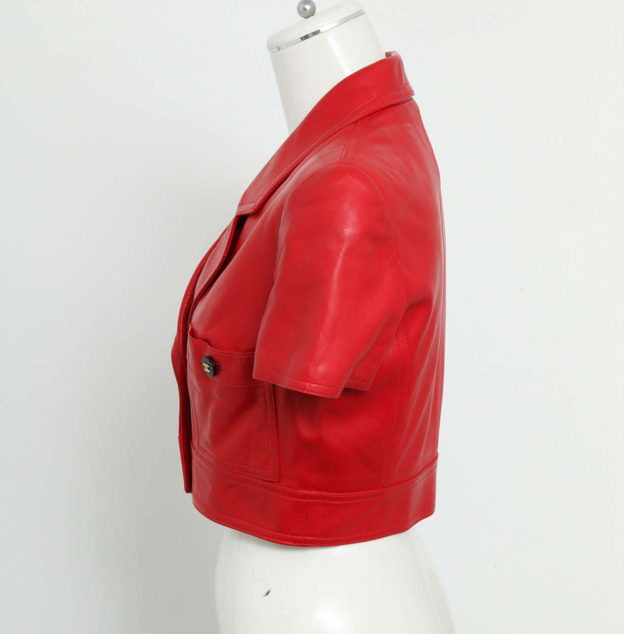 Chanel Rare Red Cropped Leather Jacket 5