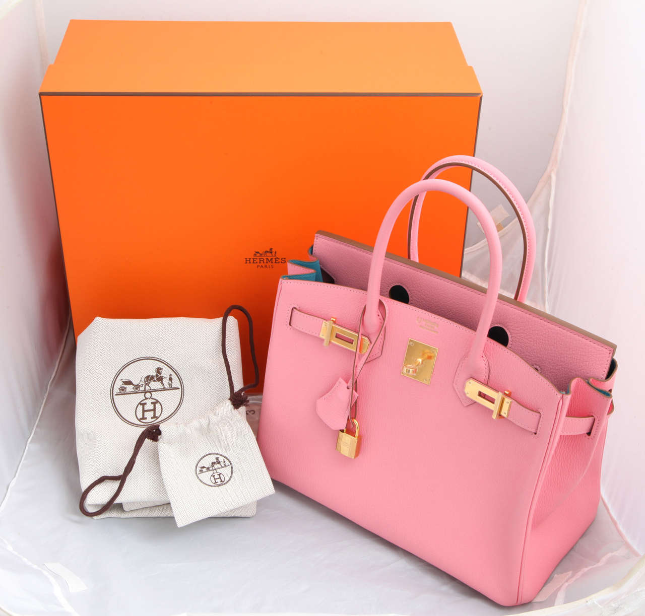 """Hermes Rose Confetti Pink """"Special Order"""" Chevre Birkin with Horseshoe Stamp 8"""