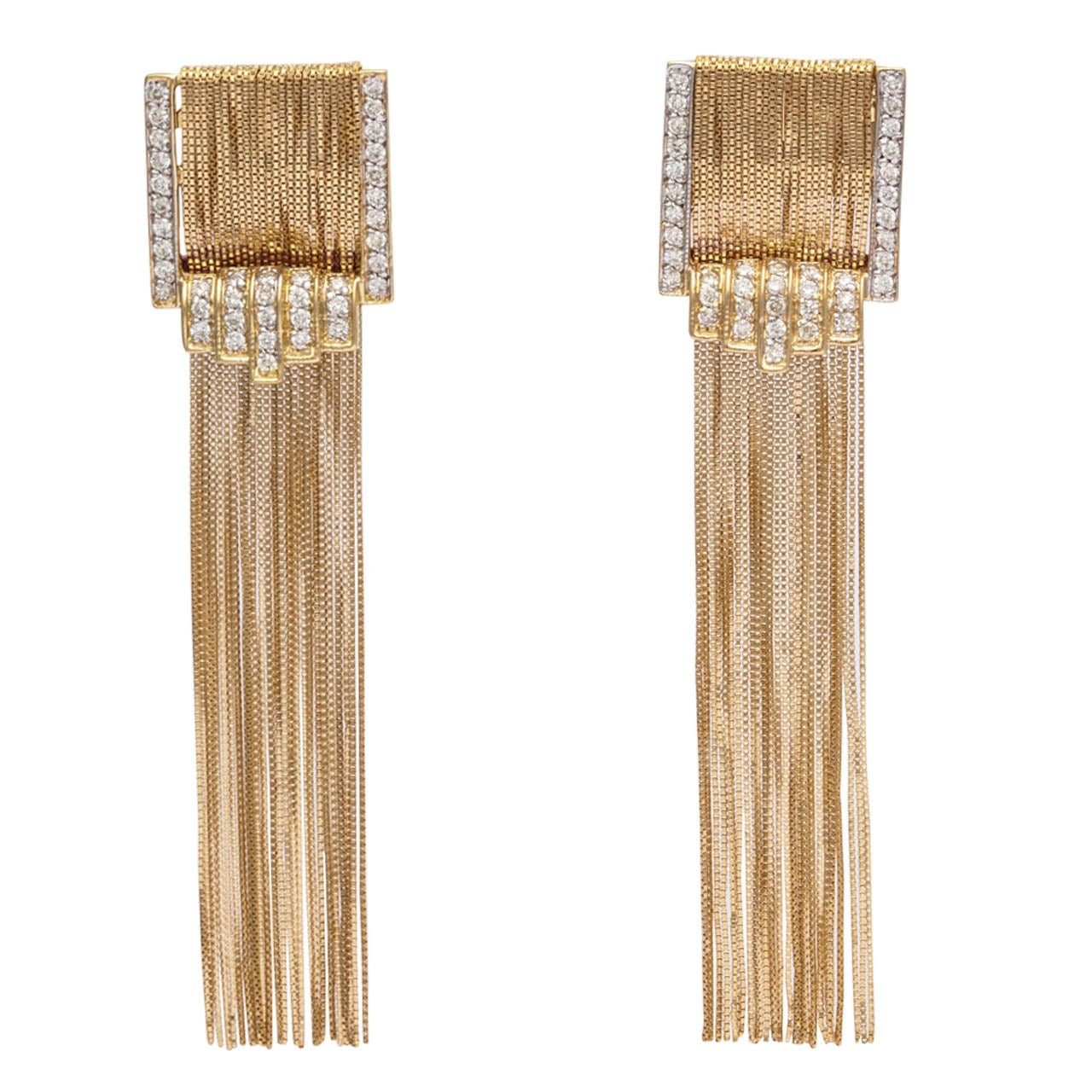 1980s Diamond Gold Tel Fringe Earrings For