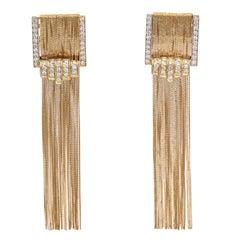 1980s Diamond Gold Tassel Fringe Earrings