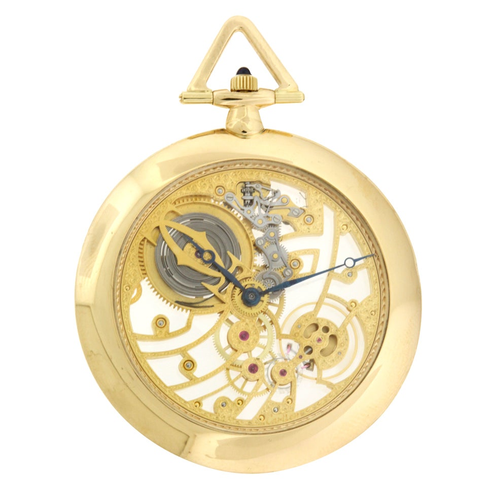 Cartier Rare Yellow Gold Skeleton Pocket Watch At 1stdibs