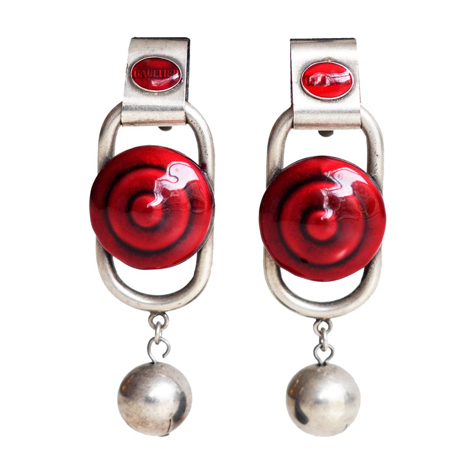 Red Enameled Earrings by Jean Paul Gaultier 1