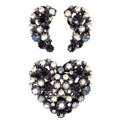 Heart Brooch and Earrings by Elsa Schiaparelli