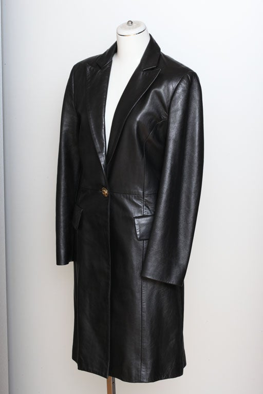 Versace Jeans Couture Black Leather Coat with Medusa Button 3