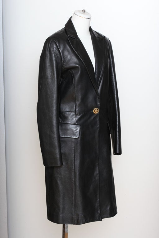 Versace Jeans Couture Black Leather Coat with Medusa Button 4