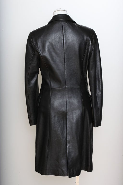 Versace Jeans Couture Black Leather Coat with Medusa Button 5