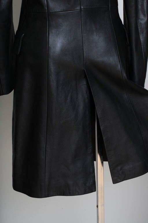 Versace Jeans Couture Black Leather Coat with Medusa Button 6