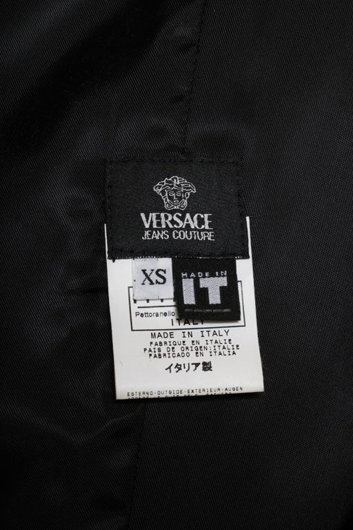 Versace Jeans Couture Black Leather Coat with Medusa Button 7