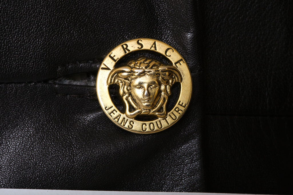 Versace Jeans Couture Black Leather Coat with Medusa Button 8