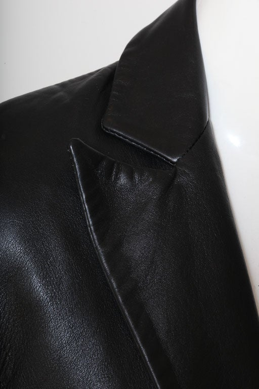 Versace Jeans Couture Black Leather Coat with Medusa Button 10