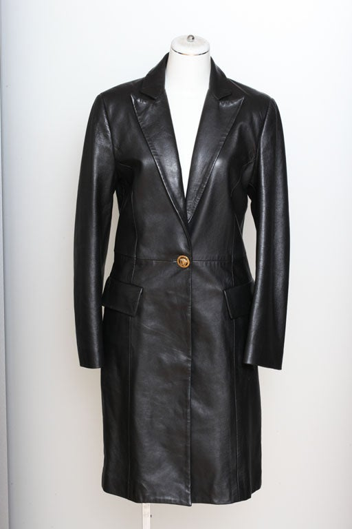 Versace Jeans Couture Black Leather Coat with Medusa Button 2