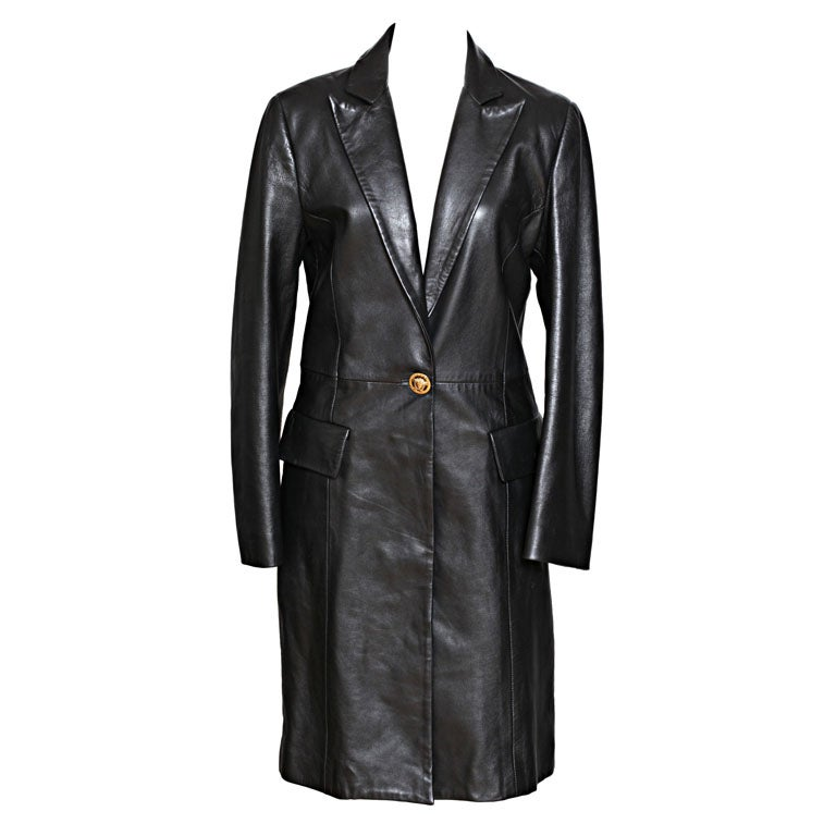 Versace Jeans Couture Black Leather Coat with Medusa Button 1