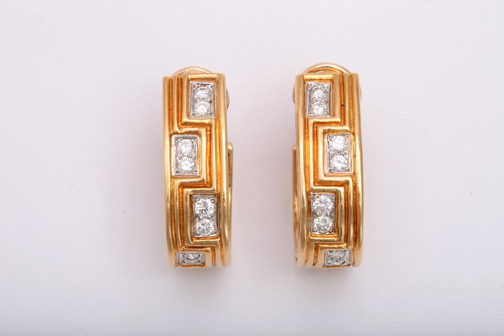 Women's Classically Inspired Diamond Gold Grecian Hoop Earrings For Sale