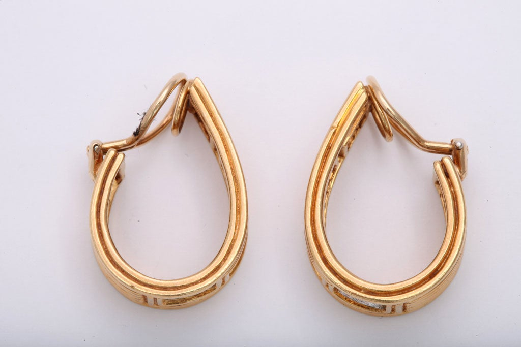 Classically Inspired Diamond Gold Grecian Hoop Earrings For Sale 1