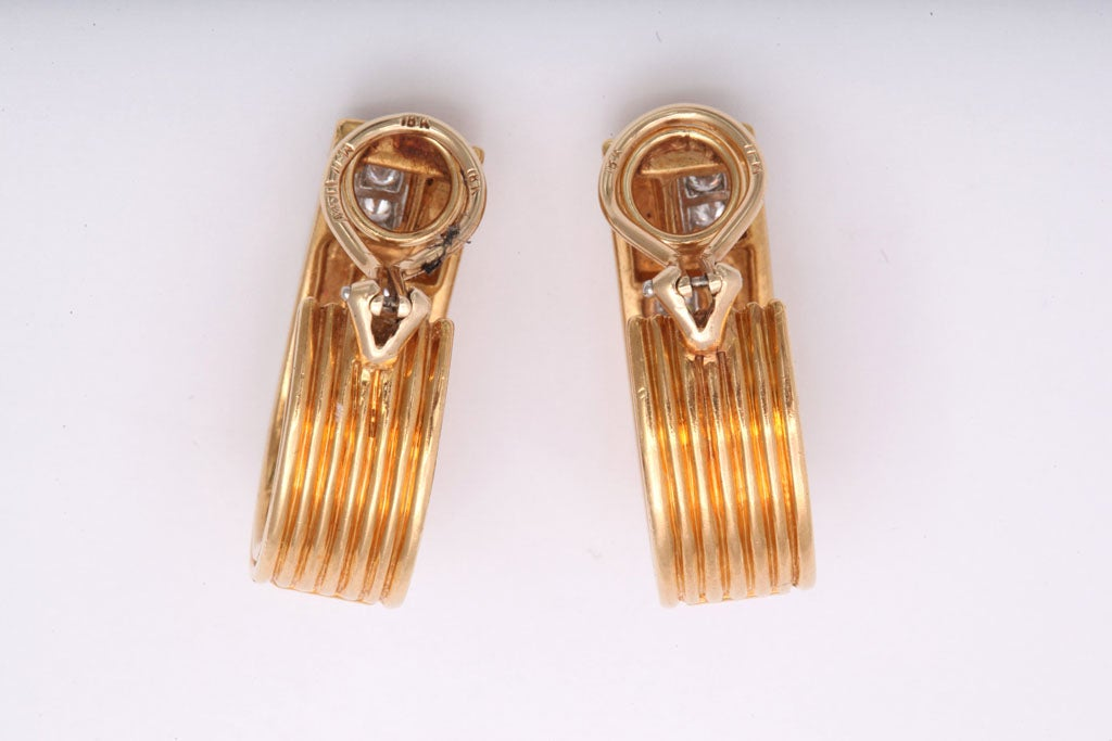 Classically Inspired Diamond Gold Grecian Hoop Earrings For Sale 2