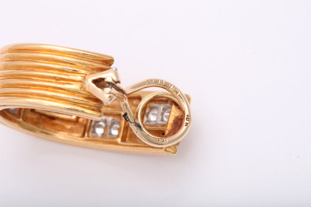 Classically Inspired Diamond Gold Grecian Hoop Earrings For Sale 4