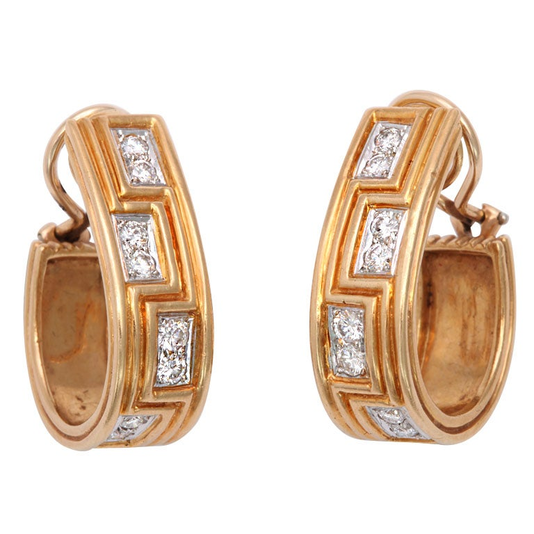 Classically Inspired Diamond Gold Grecian Hoop Earrings For Sale