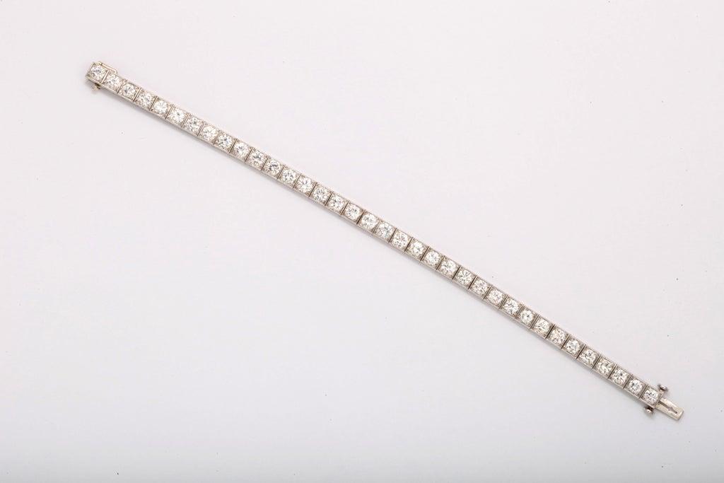 Diamond Platinum Block Bracelet For Sale 2