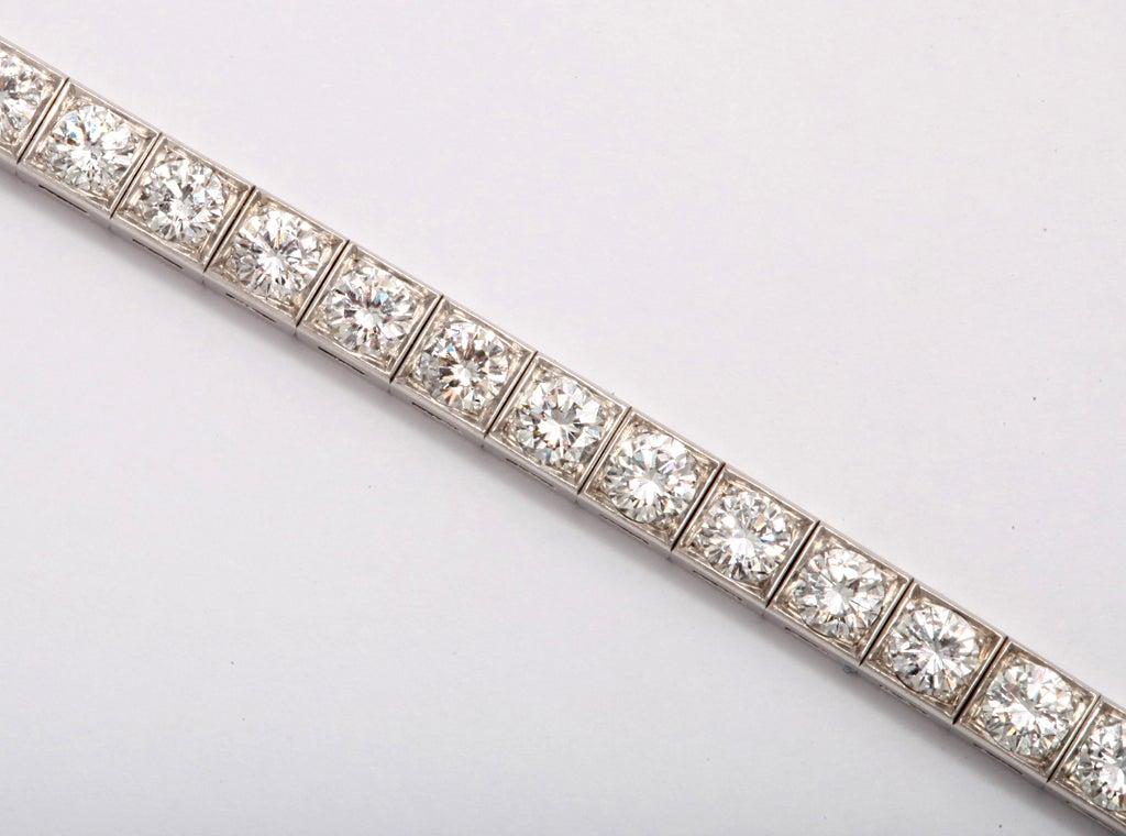 Diamond Platinum Block Bracelet For Sale 1