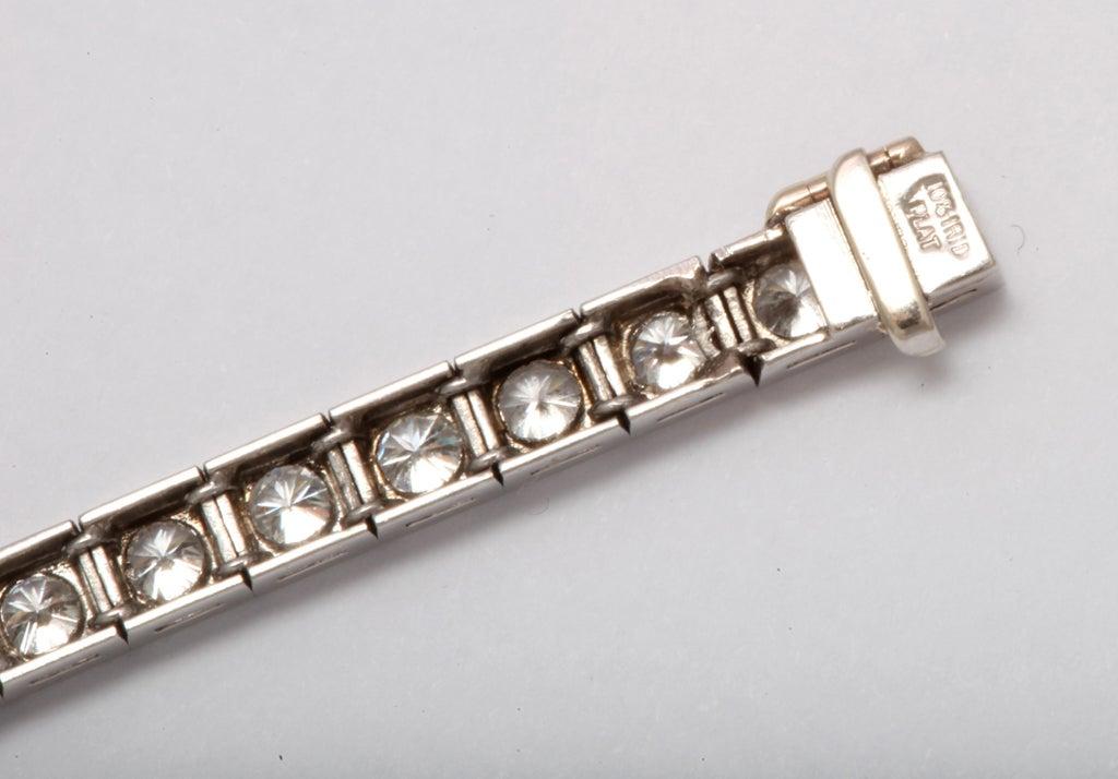 Diamond Platinum Block Bracelet For Sale 3