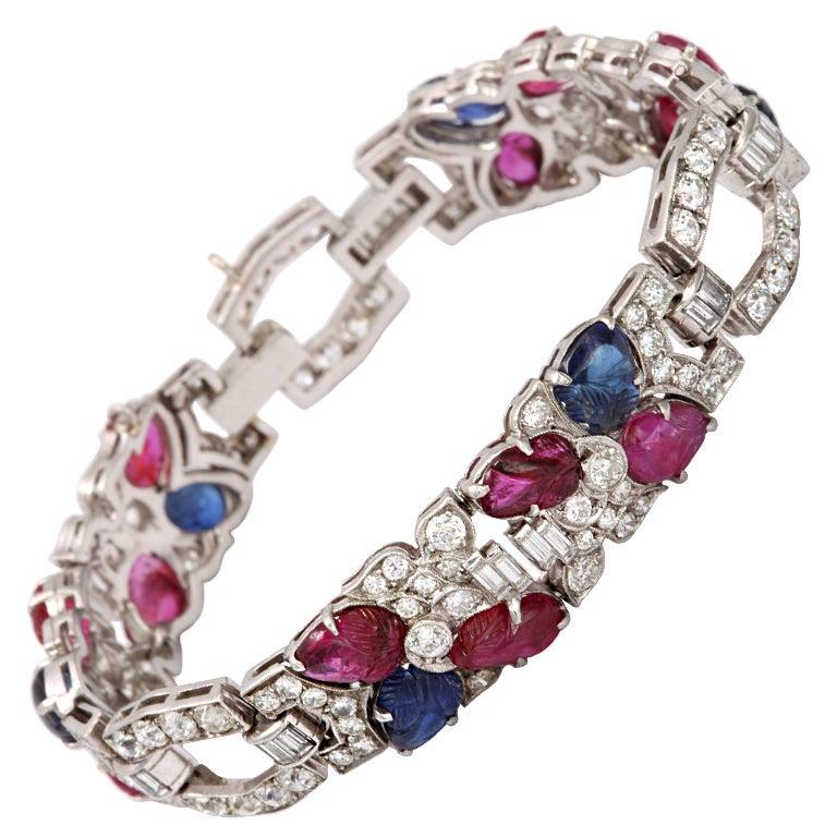 "Art Deco Diamond ""Fruit Salad"" Ruby Sapphire Bracelet For Sale"
