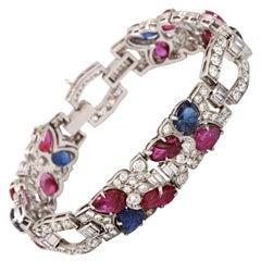 "Art Deco Diamond ""Fruit Salad"" Ruby Sapphire Bracelet"