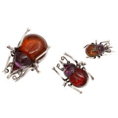 It Takes A Village:  Crystal Beetle Brooches