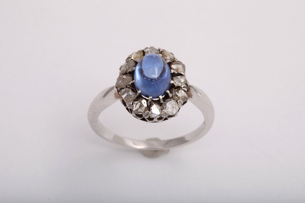 Simple Brilliance Sapphire Diamond Ring at 1stdibs