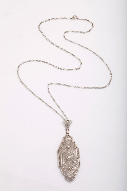 Old Mine Cut Art Deco 'Lighter than Air' Diamond Pendant For Sale