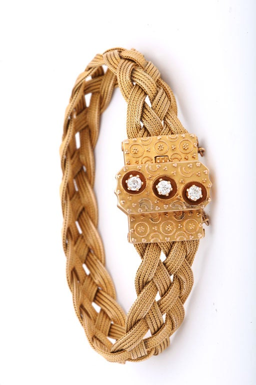 Antique American Braided Gold And Diamond Bracelet At 1stdibs