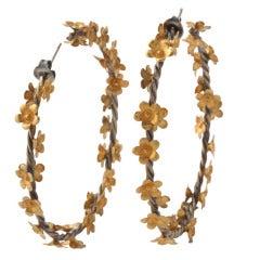Gold Silver Floral Vine Hoop Earrings