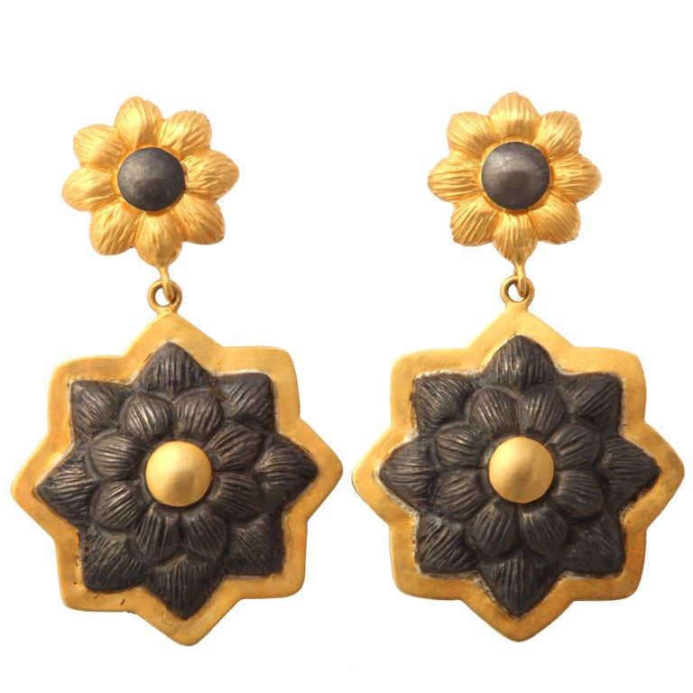 Gold Silver Sunflower Earrings