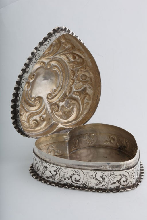 Sterling Silver Heart Shaped Trinkets Box At 1stdibs